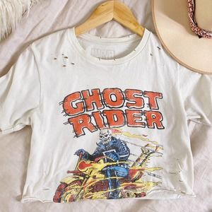 Marvel Ghost Rider Distressed Graphic Cropped Tee